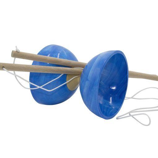 Diabolo marbré bleu axe bois Foulon