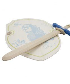 Epée avec crochet ceinture et bouclier Charchilla argent et bleu