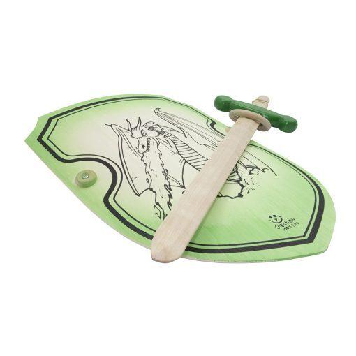 Epée avec crochet ceinture et bouclier dragon vert