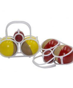 Panier pétanque 2 boules jaune, rouge, naturelle