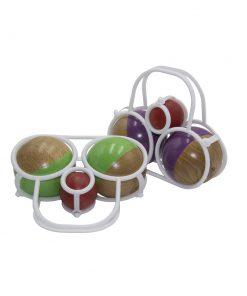 Panier pétanque 2 boules vert, violet, naturelle