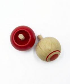 toupie en bois rouge foulon