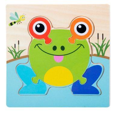 puzzle en bois grenouille enfant