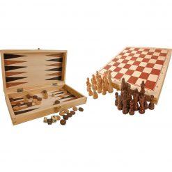 Jeux classiques en bois : échec, dames et jacquet
