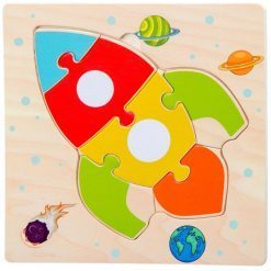 puzzle en bois fusee pour enfant