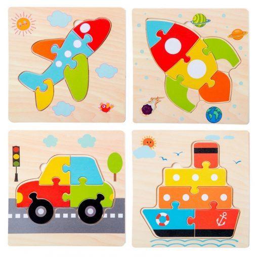 puzzles encastrables véhicules bois